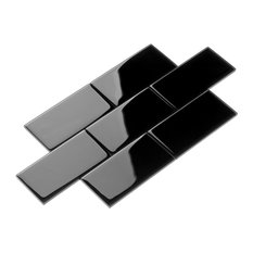 """3""""x6"""" Subway Collection, Set of 44, Black"""