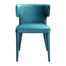 20-inch W Set Of 2 Dining Chair Curved Back Bright Teal Velvet Metal Contemporary