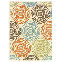 """Malibu Indoor and Outdoor Floral Beige and Blue Rug, 7'10""""x10'10"""""""