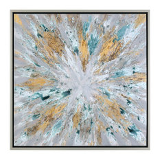 """Color Burst Large 40"""" Wall Art, Abstract Sunburst Yellow Gray Silver"""