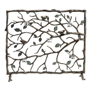 "Bird and Branch Candle Holder Firescreen 37"" Wide"