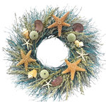 VanCortlandt Farms - Starfish Ocean Wreath, Small - The magical range of the ocean is captured in this loved wreath featuring Sea Urchins, Starfish, and Assorted Shells on a 100% natural base