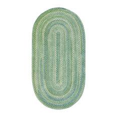 "Waterway Braided Oval Rug, Green, 1'8""x2'6"""