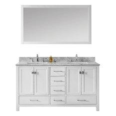 "Caroline Avenue 60"" Double Vanity, Without Faucet, Basin: White Square"