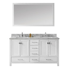 "1st Avenue - Addison Double Vanity Set, Square Sinks, No Faucets, 60"" - Bathroom Vanities and Sink Consoles"