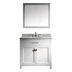 """1st Avenue - Pembroke Vanity With Mirror and Round Sink, Nickel Faucet, White, 36"""" - Bathroom Vanities and Sink Consoles"""