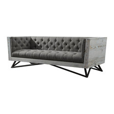 Armen Living   Regis Contemporary Sofa, Gray Fabric With Black Metal Legs    Sofas