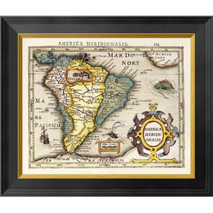 Map Of South America Framed Digital Print By Gerard Mercator 26x23 Traditional Prints And Posters By Global Gallery