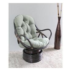 International Caravan Bali Rattan Swivel Rocker Chair-Burgundy