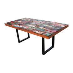 "Rectangular Dining Table Made From Recycled Teak Wood Boats(98"", and 79"" sizes)"