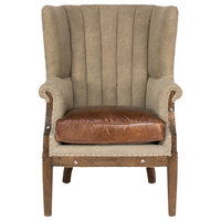 Lucienne French Country Beige Linen Brown Leather Living Room Arm Chair