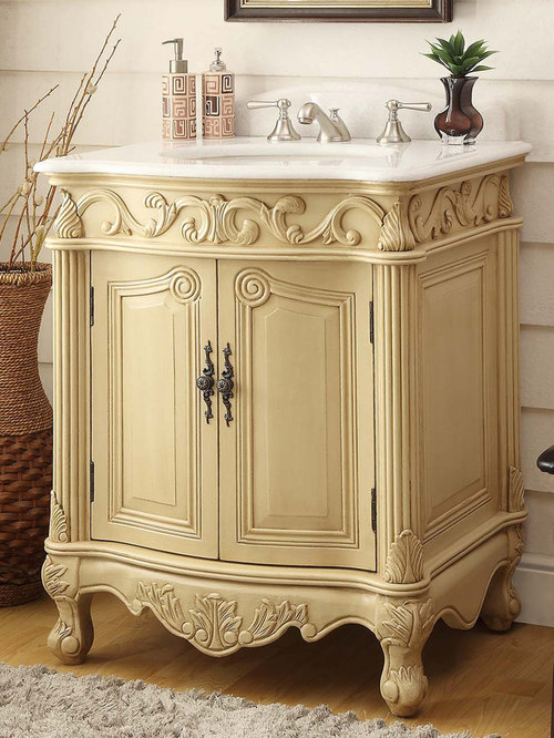 27 Inch Antique Bathroom Vanity Light Beige Finish   Bathroom Vanities And  Sink Consoles