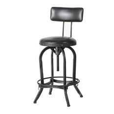 GDF Studio Samthorn Metal Industrial Barstool With Backrest