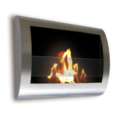Chelsea Wall Mount Ethanol Fireplace, Stainless Steel