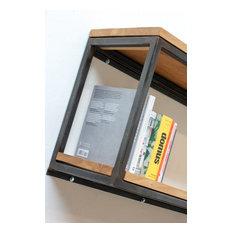 Orla Welded Dark Steel Box Section and Premium Oak Shelves