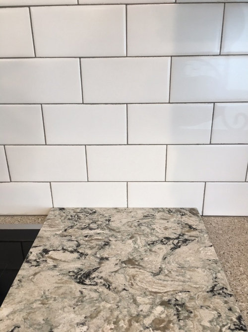 The Picture Of Countertop Up Against White Subway Tile Is With Winter Gray Grout Also Attaching Cabinets That We Are Using For