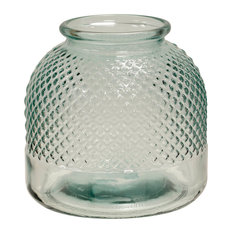 Diamond Stud Textured Recycled Spanish Glass Vase, Clear Small