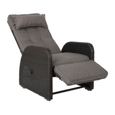 GDFStudio - Odina Brown Outdoor Recliner With Cushion - Outdoor Lounge Chairs