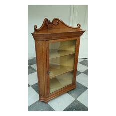 Attractive Late Victorian Oak Floor Standing Glazed Corner Cabinet