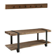 """Modesto 48"""" Metal and Reclaimed Wood Wall Coat Hook With Bench"""