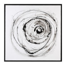 """Abstract Vortex Black White 41"""" Painting Wall Art, Large Square Gray Swirl"""