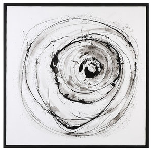 "Abstract Vortex Black White 41"" Painting Wall Art, Large Square Gray Swirl"
