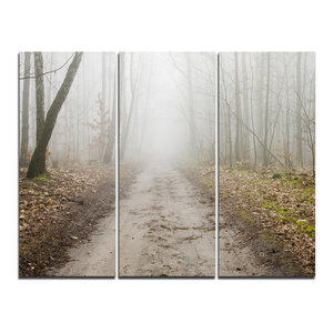 """""""Straight Forest Road in Fall"""" Photo Wall Art, 3 Panels, 36""""x28"""""""
