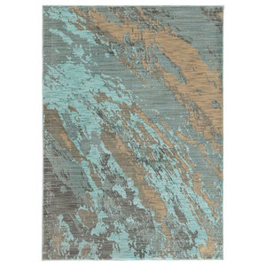 "Casa Marble Rug, Blue and Gray, 9'10""x12'10"""