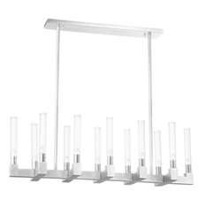 Placid 12 Light Chandelier in Polished Nickel With Fluted Glass