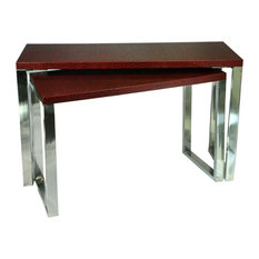 Rectangular Wood And Metal Console Tables Red And Silver Set Of 2.