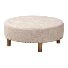 Modern & Contemporary Beige Fabric Upholstered Natural Wood Cocktail Ottoman