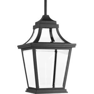 """Endorse 14.5"""" 9W 1-LED 1 Outdoor Hanging Lantern Black Clear Glass"""