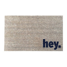 """Hand Painted """"Hey."""" Welcome Mat, Midnight Navy Blue"""