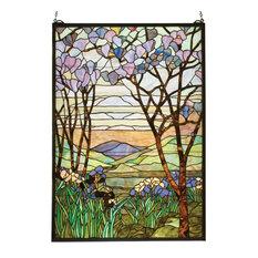 """22""""Wx30""""H Tiffany Magnolia & Iris Stained Glass Window"""