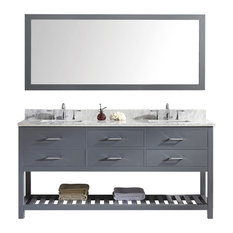 "Virtu Caroline Estate 72"" Double Bathroom Vanity, Gray With Marble Top, Mirror"