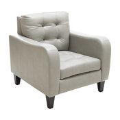 Bowdon Gray Leather Club Chair