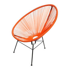 PLATA DECOR IMPORT   Acapulco Egg Outdoor Chair, Orange   Outdoor Lounge  Chairs
