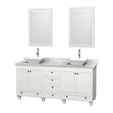 "72"" Acclaim White Double Vanity, White Carrera Top and Pyra White Porcelain Sink"