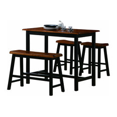 Transitional 4-Piece Counter Height Table Bench And 2 Stools