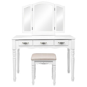 Large Dressing Table Set With Tri-folding Mirror and Cushioned Stool, 3-Drawer