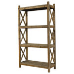 Padma's Plantation - Salvaged Wood Cross Rack Book Case - This item is artisan crafted with meticulous care out of reclaimed old pine wood that was salvaged from old houses in rural towns of China. The Reclaimed pine has been bleached to bring out its natural texture and charm. Given its handmade and hand-finished nature, variations in the wood or metal work are to be expected and celebrated. Each item is unique and no two are exactly alike.
