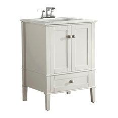 "Chelsea Bath Vanity, Soft White With White Engineered Quartz Marble Top, 25"""