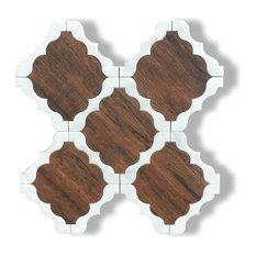 Dark Wood and Carrara Marble Waterjet Cut Tile, Design 30