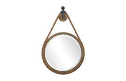 Rustic Round Rope Pulley Pendant Wall Mirror | Industrial Nautical Vintage Style