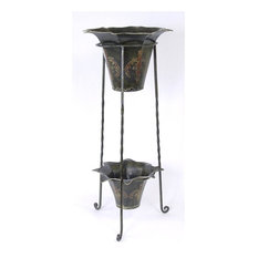 Wrought Iron Planter with Two Painted Metal Pots