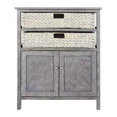 27-inchx15-inchx32-inch Gray Wood Mdf Water Hyacinth 2-Basket 2-Door Cabinet