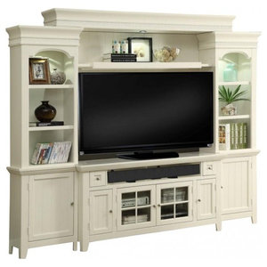 "Parker House Tidewater 62"" Console Entertainment Wall, Vintage White"