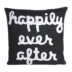 Happily Ever After Pillow, Charcoal and White