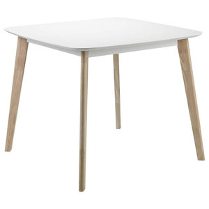 Modern Square Dining Table, Solid Wood With White Finished Top and Oak Legs