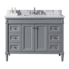 "Tiffany 48"" Single Bathroom Vanity Set, Gray"